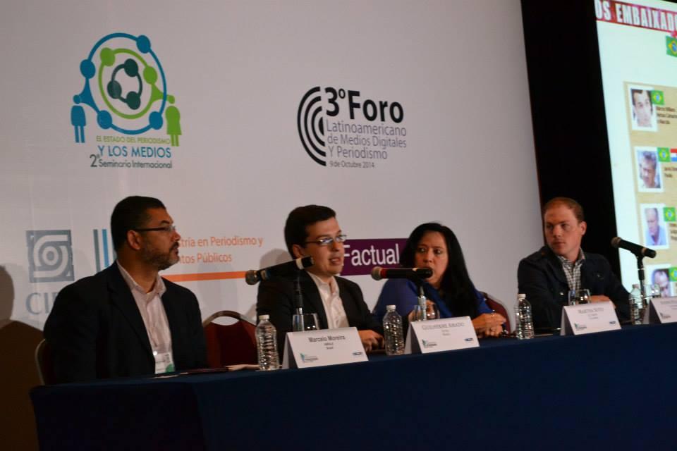 Mesa sobre Narcotráfico y seguridad de la prensa. Participan Guilherme Amado, Martha Soto y Joseph Poliszuk.